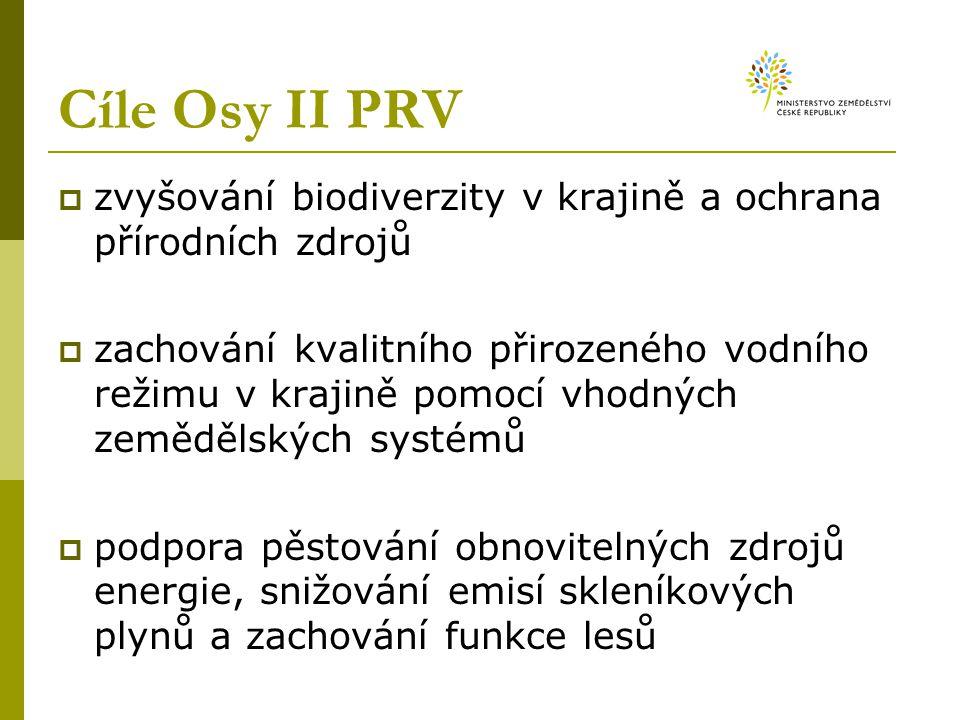 Cíle Osy II PRV  zvyšování biodiverzity v krajině a ochrana přírodních zdrojů  zachování kvalitního přirozeného vodního režimu v krajině pomocí vhodných zemědělských systémů  podpora pěstování obnovitelných zdrojů energie, snižování emisí skleníkových plynů a zachování funkce lesů