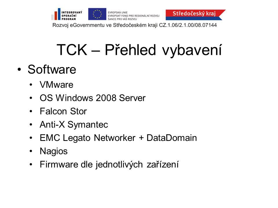 TCK – Přehled vybavení Software VMware OS Windows 2008 Server Falcon Stor Anti-X Symantec EMC Legato Networker + DataDomain Nagios Firmware dle jednotlivých zařízení