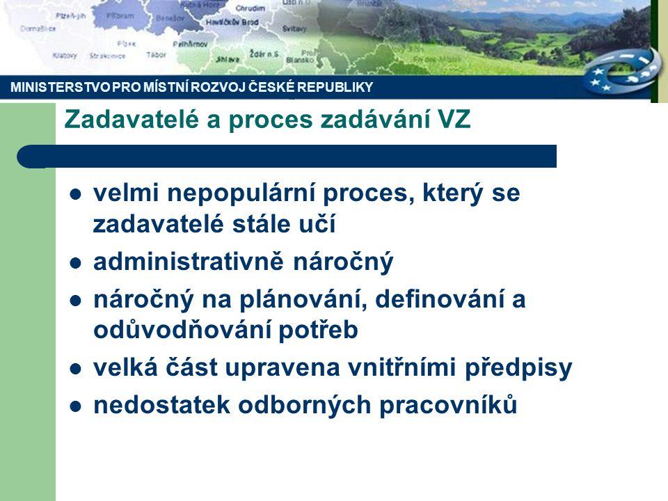 MINISTERSTVO PRO MÍSTNÍ ROZVOJ ČESKÉ REPUBLIKY Zadavatel a řádné zadání veřejné zakázky Zadavatelé musí specifikovat: – Požadavky na předmět – Požadavky na dodavatele – Hodnotící kritéria Zadavatelé musí dodržet zásady: – Transparentnosti – Rovného zacházení – Nediskriminace