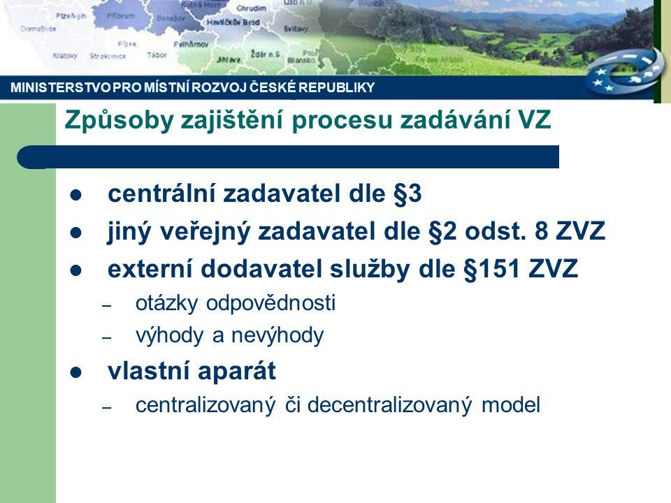 MINISTERSTVO PRO MÍSTNÍ ROZVOJ ČESKÉ REPUBLIKY Způsoby zajištění procesu zadávání VZ centrální zadavatel dle §3 jiný veřejný zadavatel dle §2 odst.