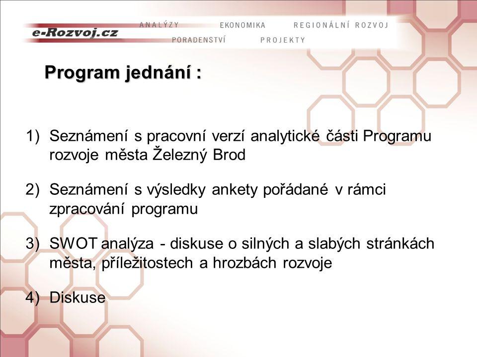Seznámení s pracovní verzí analytické části Programu rozvoje města Železný Brod Seznámení s výsledky ankety pořádané v rámci zpracování programua slabých stránkách města, příležitostech a hrozbách rozvoje DiskuseD 7.