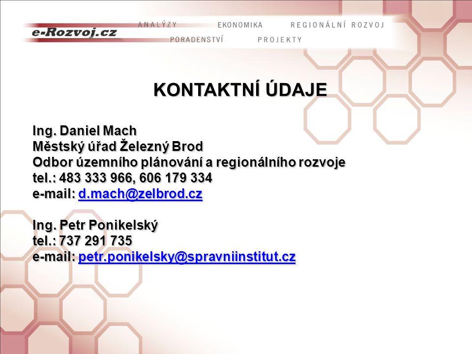 KONTAKTNÍ ÚDAJE Ing. Daniel Mach Městský úřad Železný Brod Odbor územního plánování a regionálního rozvoje tel.: 483 333 966, 606 179 334 e-mail: d.ma