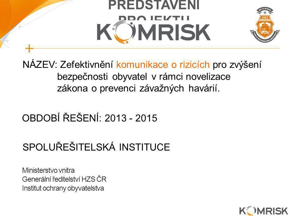 NÁZEV: Zefektivnění komunikace o rizicích pro zvýšení bezpečnosti obyvatel v rámci novelizace zákona o prevenci závažných havárií. SPOLUŘEŠITELSKÁ INS
