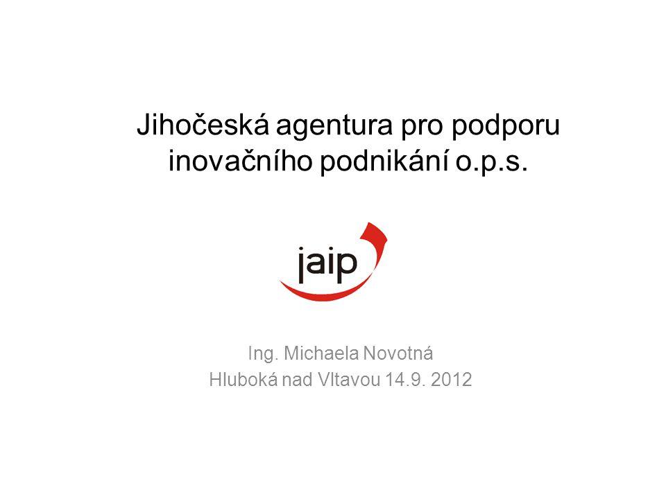 Ing. Michaela Novotná Hluboká nad Vltavou 14.9. 2012 Jihočeská agentura pro podporu inovačního podnikání o.p.s.
