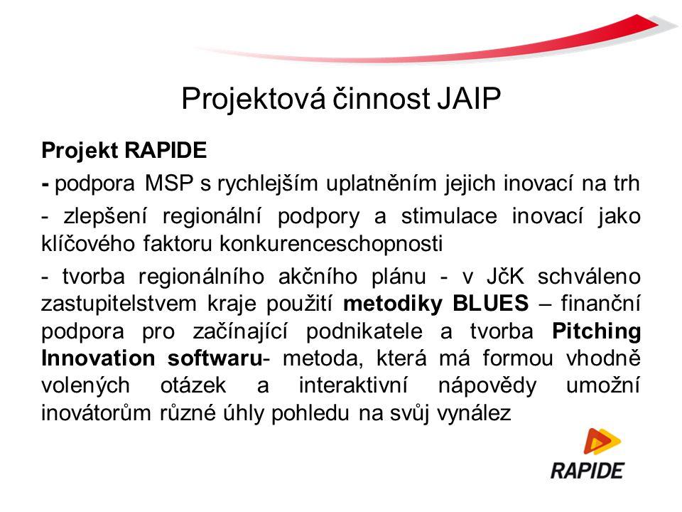 Projektová činnost JAIP Projekt RAPIDE - podpora MSP s rychlejším uplatněním jejich inovací na trh - zlepšení regionální podpory a stimulace inovací jako klíčového faktoru konkurenceschopnosti - tvorba regionálního akčního plánu - v JčK schváleno zastupitelstvem kraje použití metodiky BLUES – finanční podpora pro začínající podnikatele a tvorba Pitching Innovation softwaru- metoda, která má formou vhodně volených otázek a interaktivní nápovědy umožní inovátorům různé úhly pohledu na svůj vynález