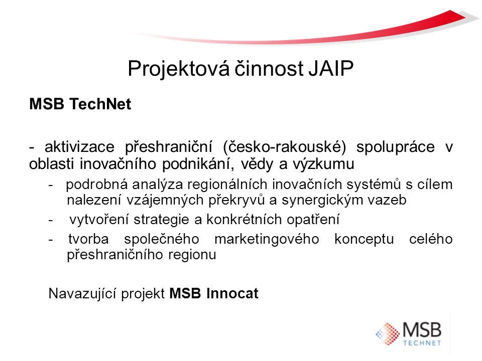 Projektová činnost JAIP MSB TechNet - aktivizace přeshraniční (česko-rakouské) spolupráce v oblasti inovačního podnikání, vědy a výzkumu - podrobná analýza regionálních inovačních systémů s cílem nalezení vzájemných překryvů a synergickým vazeb - vytvoření strategie a konkrétních opatření - tvorba společného marketingového konceptu celého přeshraničního regionu Navazující projekt MSB Innocat