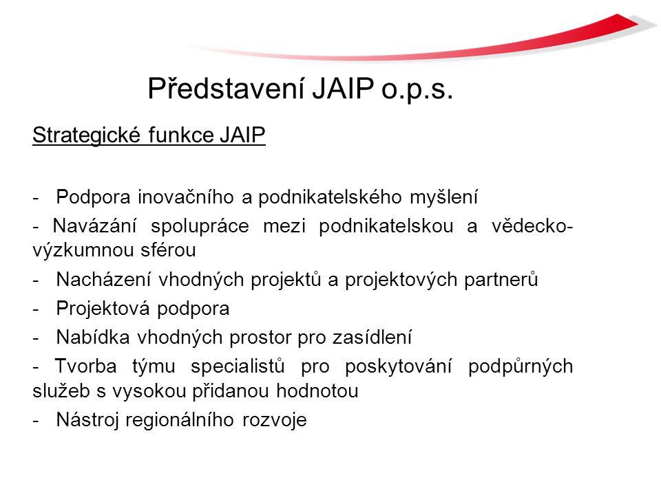 Představení JAIP o.p.s. Strategické funkce JAIP - Podpora inovačního a podnikatelského myšlení - Navázání spolupráce mezi podnikatelskou a vědecko- vý