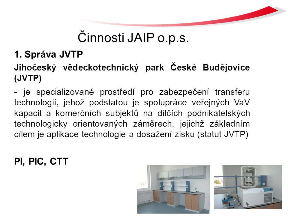 Činnosti JAIP o.p.s. 1. Správa JVTP Jihočeský vědeckotechnický park České Budějovice (JVTP) - je specializované prostředí pro zabezpečení transferu te