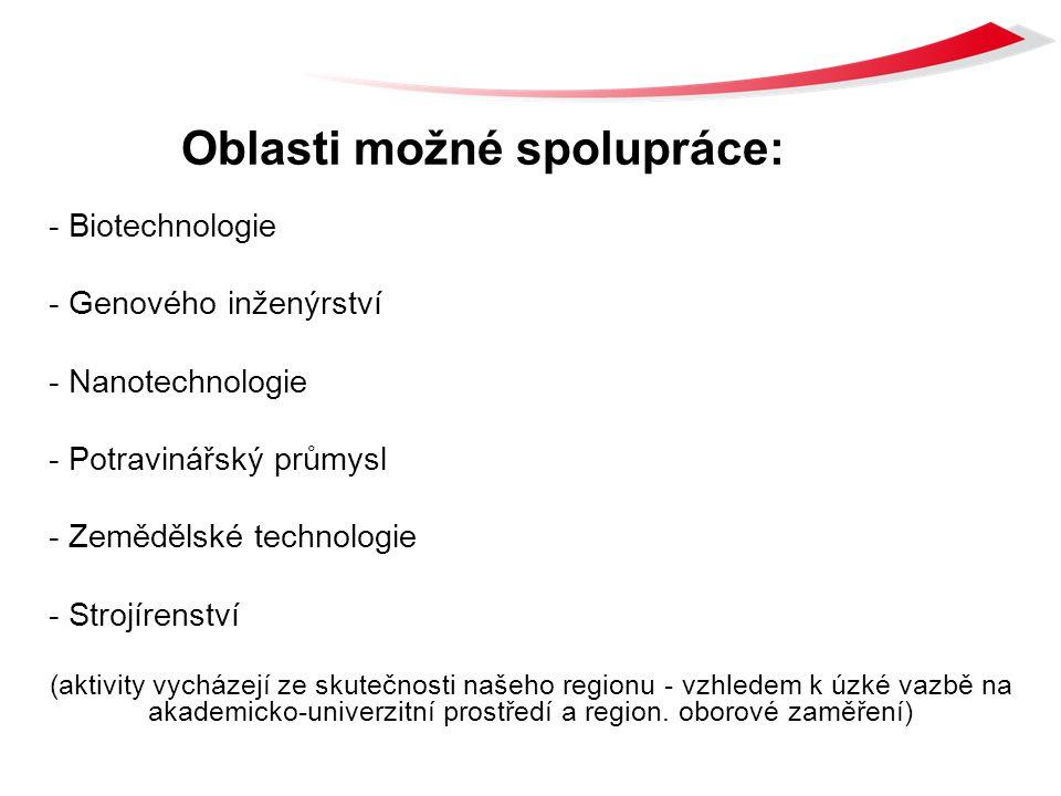 Oblasti možné spolupráce: - Biotechnologie - Genového inženýrství - Nanotechnologie - Potravinářský průmysl - Zemědělské technologie - Strojírenství (