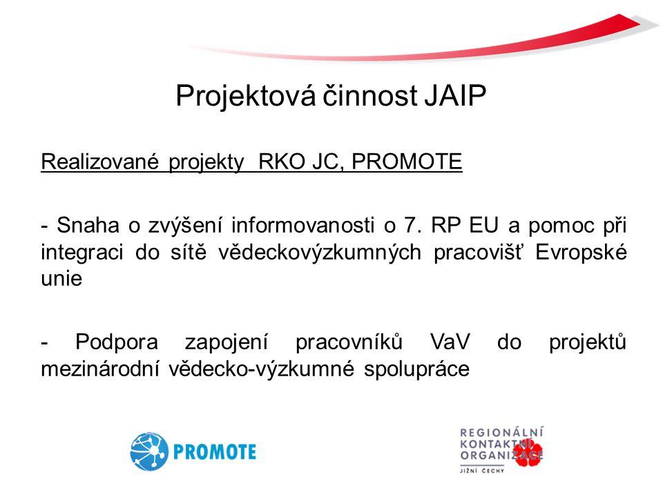 Projektová činnost JAIP Realizované projekty RKO JC, PROMOTE - Snaha o zvýšení informovanosti o 7. RP EU a pomoc při integraci do sítě vědeckovýzkumný