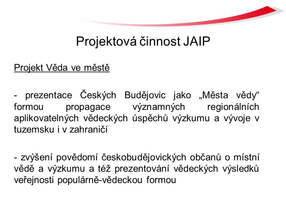 """Projektová činnost JAIP Projekt Věda ve městě - prezentace Českých Budějovic jako """"Města vědy formou propagace významných regionálních aplikovatelných vědeckých úspěchů výzkumu a vývoje v tuzemsku i v zahraničí - zvýšení povědomí českobudějovických občanů o místní vědě a výzkumu a též prezentování vědeckých výsledků veřejnosti populárně-vědeckou formou"""