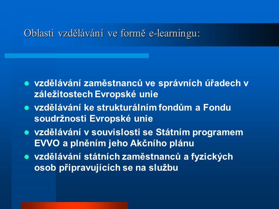 Oblasti vzdělávání ve formě e-learningu: vzdělávání zaměstnanců ve správních úřadech v záležitostech Evropské unie vzdělávání ke strukturálním fondům
