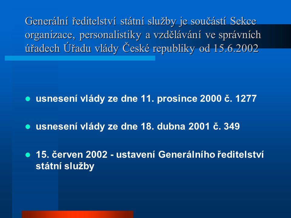 Generální ředitelství státní služby je součástí Sekce organizace, personalistiky a vzdělávání ve správních úřadech Úřadu vlády České republiky od 15.6