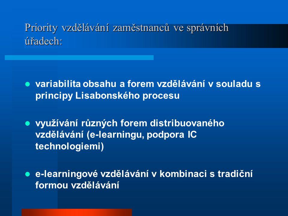 Priority vzdělávání zaměstnanců ve správních úřadech: variabilita obsahu a forem vzdělávání v souladu s principy Lisabonského procesu využívání různýc