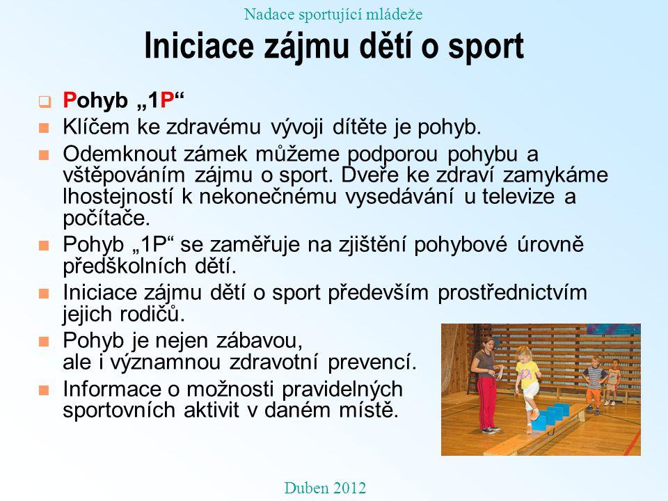 """Iniciace zájmu dětí o sport  Pohyb """"1P n Klíčem ke zdravému vývoji dítěte je pohyb."""