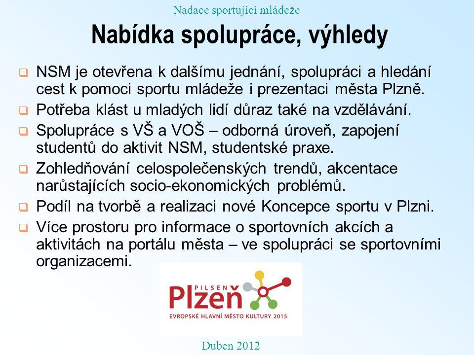 Nabídka spolupráce, výhledy  NSM je otevřena k dalšímu jednání, spolupráci a hledání cest k pomoci sportu mládeže i prezentaci města Plzně.  Potřeba
