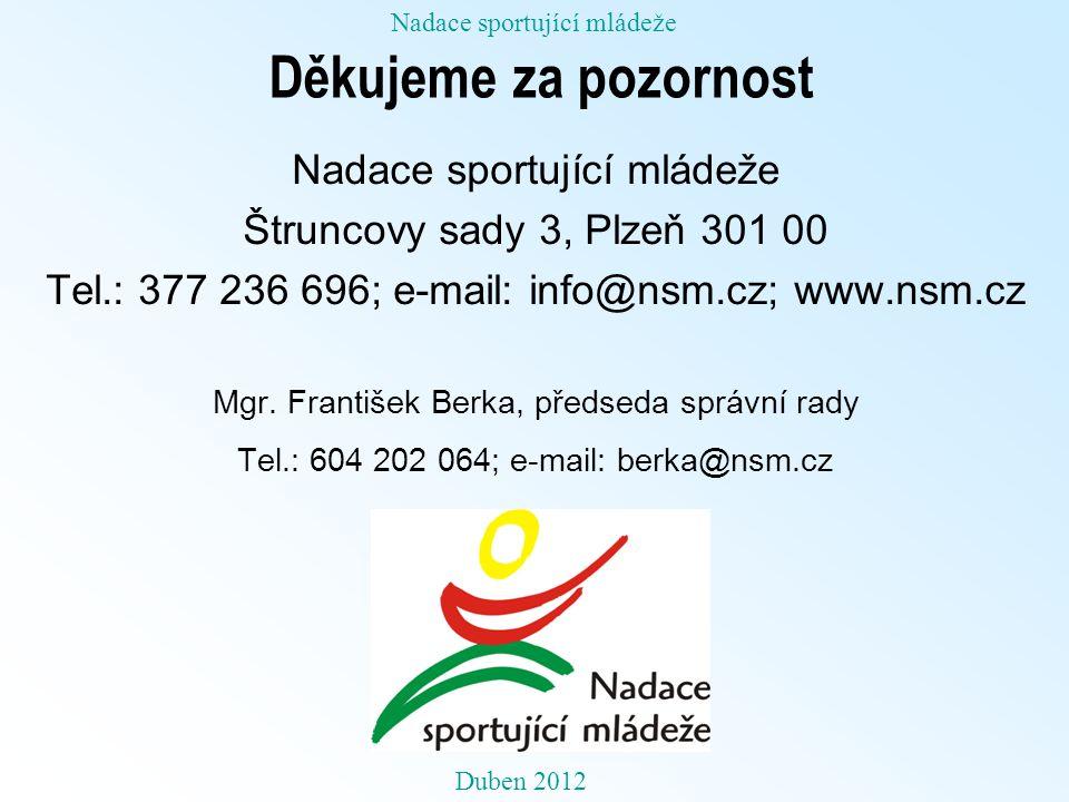 Děkujeme za pozornost Nadace sportující mládeže Štruncovy sady 3, Plzeň 301 00 Tel.: 377 236 696; e-mail: info@nsm.cz; www.nsm.cz Mgr.
