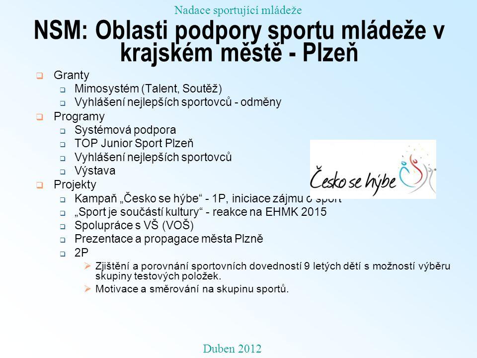 NSM: Oblasti podpory sportu mládeže v krajském městě - Plzeň  Granty  Mimosystém (Talent, Soutěž)  Vyhlášení nejlepších sportovců - odměny  Progra