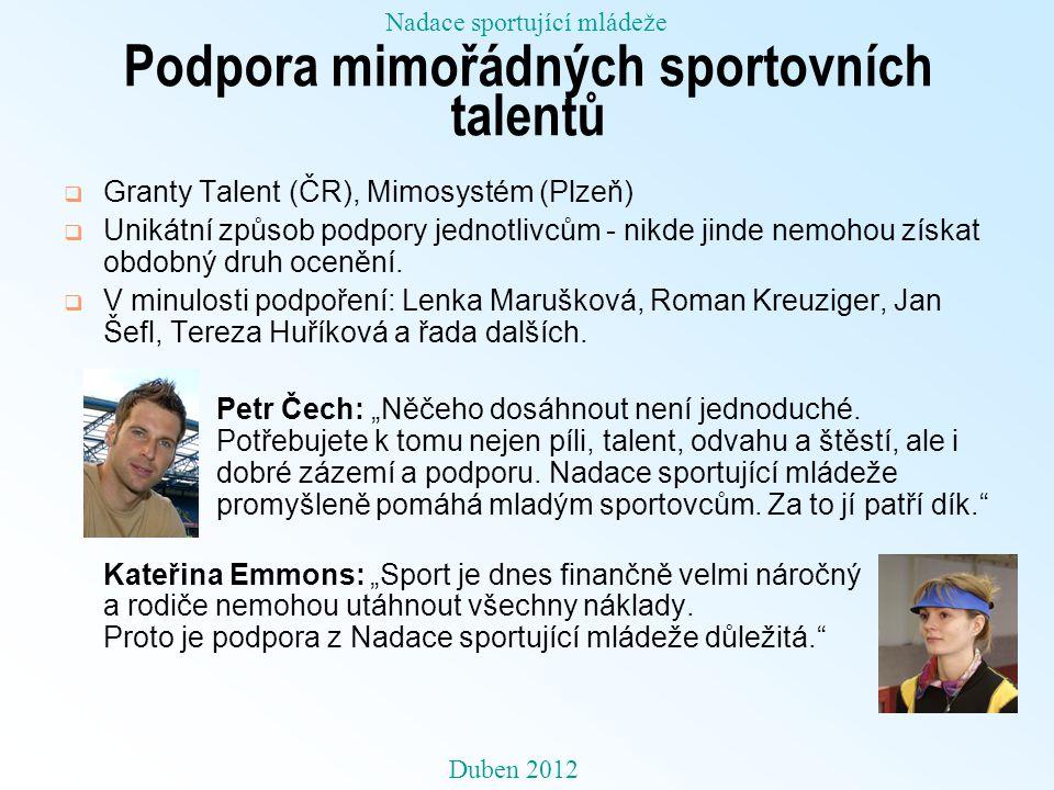 Podpora mimořádných sportovních talentů  Granty Talent (ČR), Mimosystém (Plzeň)  Unikátní způsob podpory jednotlivcům - nikde jinde nemohou získat o