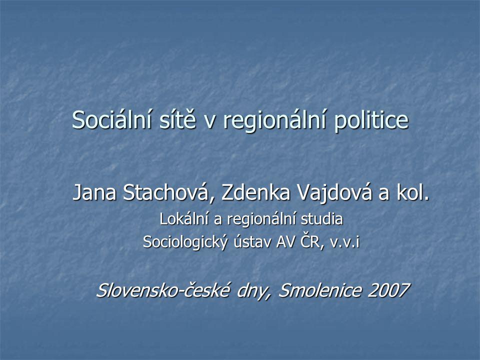 Sociální sítě v regionální politice Jana Stachová, Zdenka Vajdová a kol.