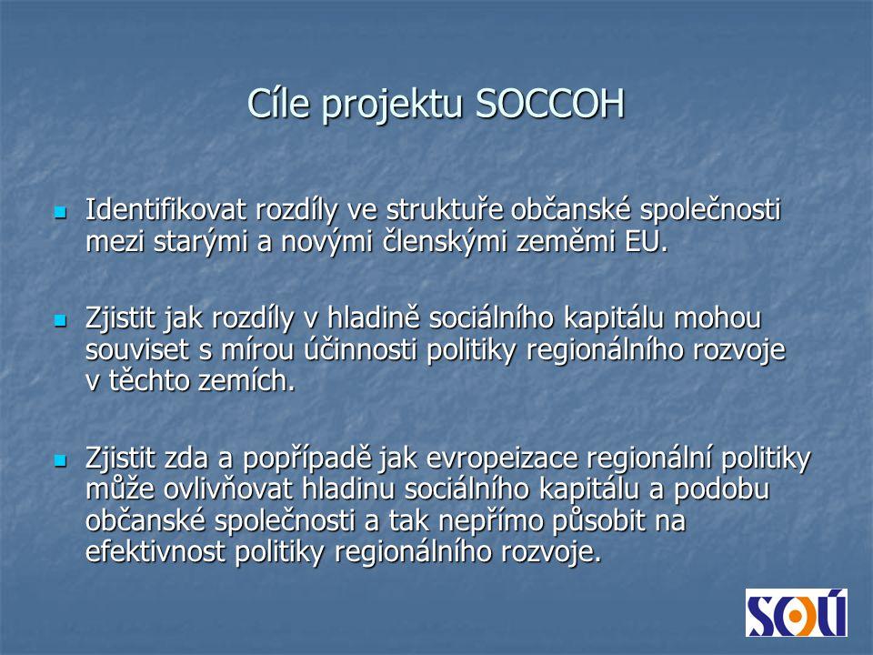 Cíle projektu SOCCOH Identifikovat rozdíly ve struktuře občanské společnosti mezi starými a novými členskými zeměmi EU.