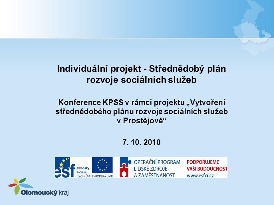 Individuální projekt Střednědobý plán Období realizace: únor 2010 – leden 2012 (24 měsíců) aktivity budou ukončeny v prosinci 2011 Cíl projektu Cílem projektu je rozvíjet kvalitu a dostupnost sociálních služeb vhodným nastavením sociální sítě v Olomouckém kraji prostřednictvím plánování sociálních služeb, a to metodou komunitního plánování