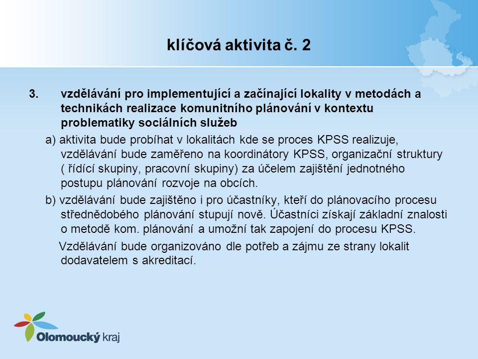 klíčová aktivita č. 2 3.vzdělávání pro implementující a začínající lokality v metodách a technikách realizace komunitního plánování v kontextu problem