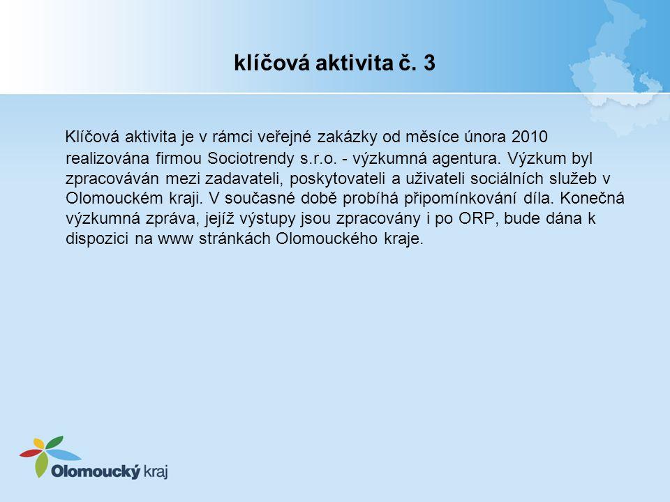 klíčová aktivita č. 3 Klíčová aktivita je v rámci veřejné zakázky od měsíce února 2010 realizována firmou Sociotrendy s.r.o. - výzkumná agentura. Výzk