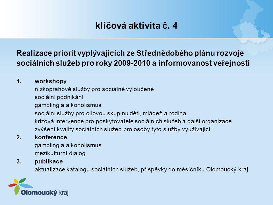 klíčová aktivita č. 4 Realizace priorit vyplývajících ze Střednědobého plánu rozvoje sociálních služeb pro roky 2009-2010 a informovanost veřejnosti 1