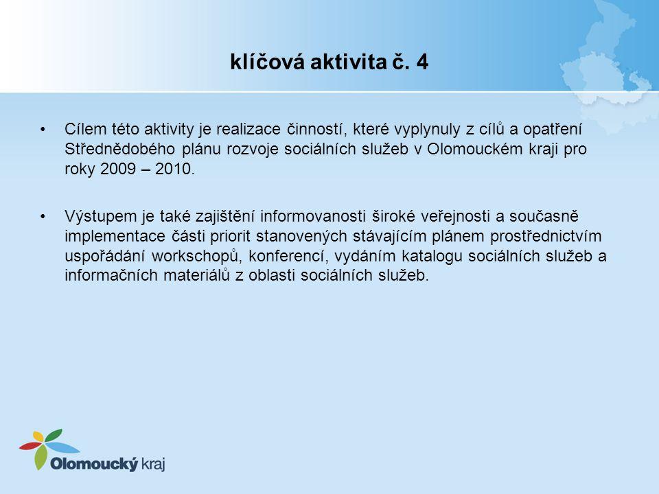 klíčová aktivita č. 4 Cílem této aktivity je realizace činností, které vyplynuly z cílů a opatření Střednědobého plánu rozvoje sociálních služeb v Olo