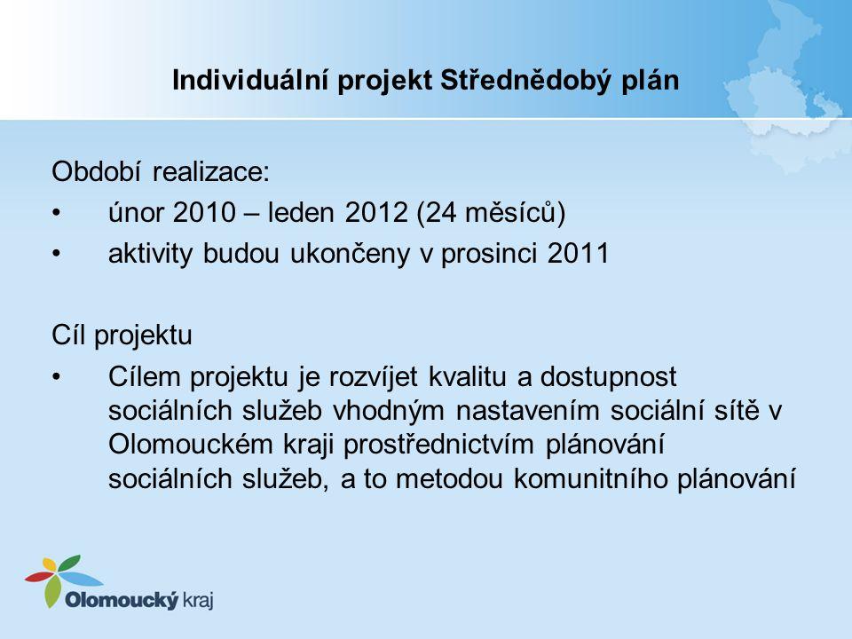 Individuální projekt Střednědobý plán Klíčové aktivity projektu 1.Zpracování střednědobého plánu rozvoje sociálních služeb na období 2011– 2014 a jeho implementace 2.Podpora vzdělávání v rámci procesu KPSS, metodická podpora, supervize a udržení procesu plánování sociálních služeb 3.Zjišťování potřeb uživatelů, poskytovatelů a zadavatelů v jednotlivých oblastech sociálních služeb v Olomouckém kraji 4.Realizace priorit vyplývajících ze Střednědobého plánu rozvoje sociálních služeb pro roky 2009-2010 a informovanost veřejnosti 5.Benchmarking poskytovatelů sociálních služeb v Olomouckém kraji