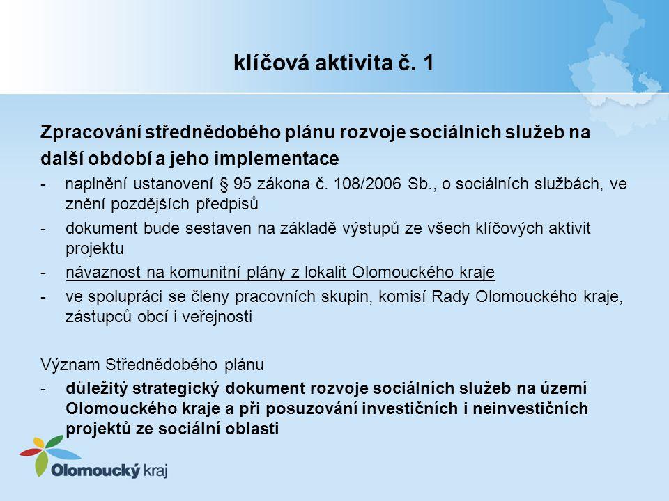 klíčová aktivita č. 1 Zpracování střednědobého plánu rozvoje sociálních služeb na další období a jeho implementace - naplnění ustanovení § 95 zákona č