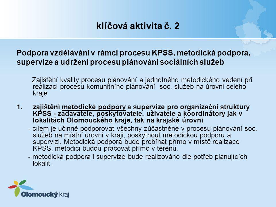klíčová aktivita č. 2 Podpora vzdělávání v rámci procesu KPSS, metodická podpora, supervize a udržení procesu plánování sociálních služeb Zajištění kv
