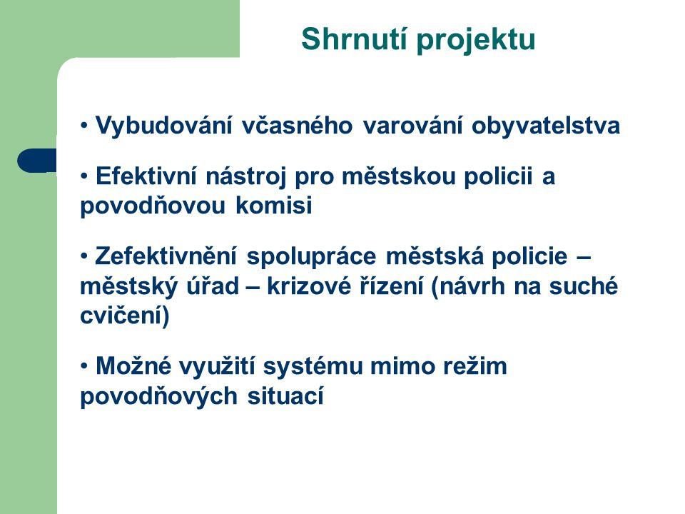 Shrnutí projektu Vybudování včasného varování obyvatelstva Efektivní nástroj pro městskou policii a povodňovou komisi Zefektivnění spolupráce městská