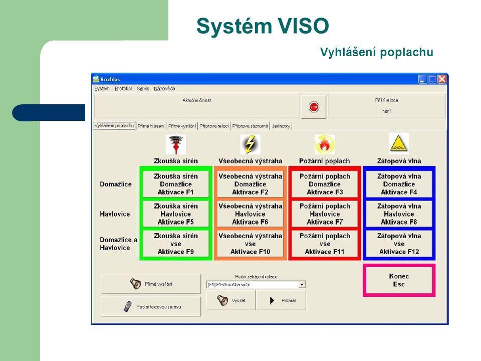 Systém VISO Vyhlášení poplachu