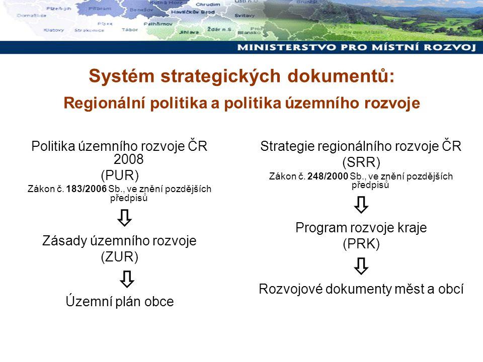 Systém strategických dokumentů: Regionální politika a politika územního rozvoje Politika územního rozvoje ČR 2008 (PUR) Zákon č. 183/2006 Sb., ve zněn