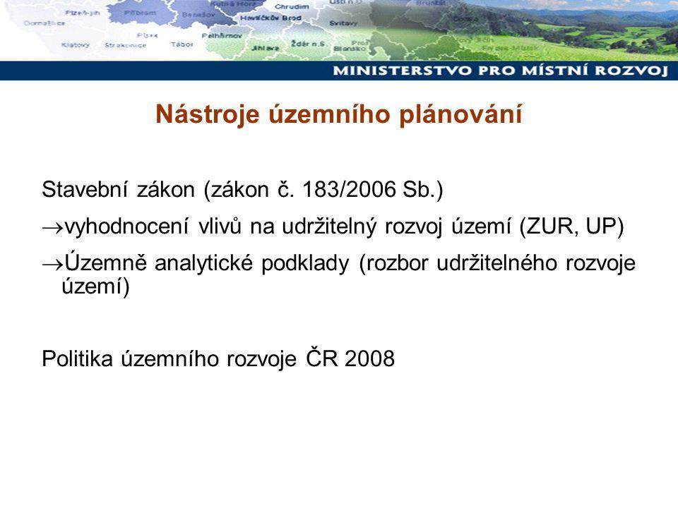 Nástroje územního plánování Stavební zákon (zákon č. 183/2006 Sb.)  vyhodnocení vlivů na udržitelný rozvoj území (ZUR, UP)  Územně analytické podkla