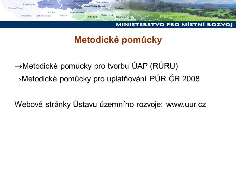 Metodické pomůcky  Metodické pomůcky pro tvorbu ÚAP (RÚRU)  Metodické pomůcky pro uplatňování PÚR ČR 2008 Webové stránky Ústavu územního rozvoje: ww