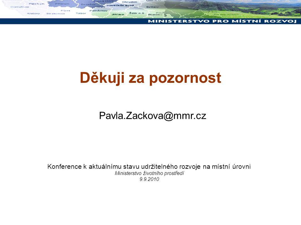Děkuji za pozornost Konference k aktuálnímu stavu udržitelného rozvoje na místní úrovni Ministerstvo životního prostředí 9.9.2010 Pavla.Zackova@mmr.cz