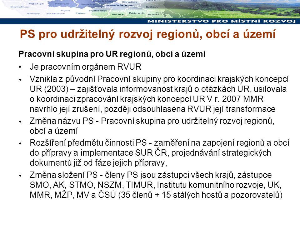 Pracovní skupina pro UR regionů, obcí a území Je pracovním orgánem RVUR  Vznikla z původní Pracovní skupiny pro koordinaci krajských koncepcí UR (200