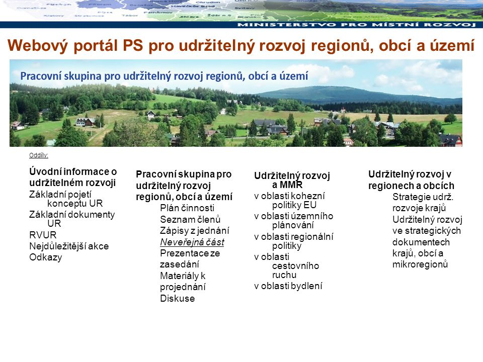 Oddíly: Úvodní informace o udržitelném rozvoji Základní pojetí konceptu UR Základní dokumenty UR RVUR Nejdůležitější akce Odkazy Udržitelný rozvoj a M