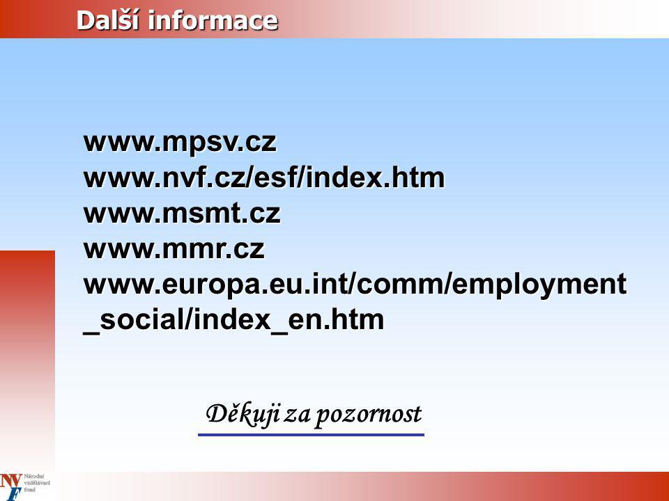 Další informace Další informacewww.mpsv.czwww.nvf.cz/esf/index.htmwww.msmt.czwww.mmr.cz www.europa.eu.int/comm/employment _social/index_en.htm Děkuji