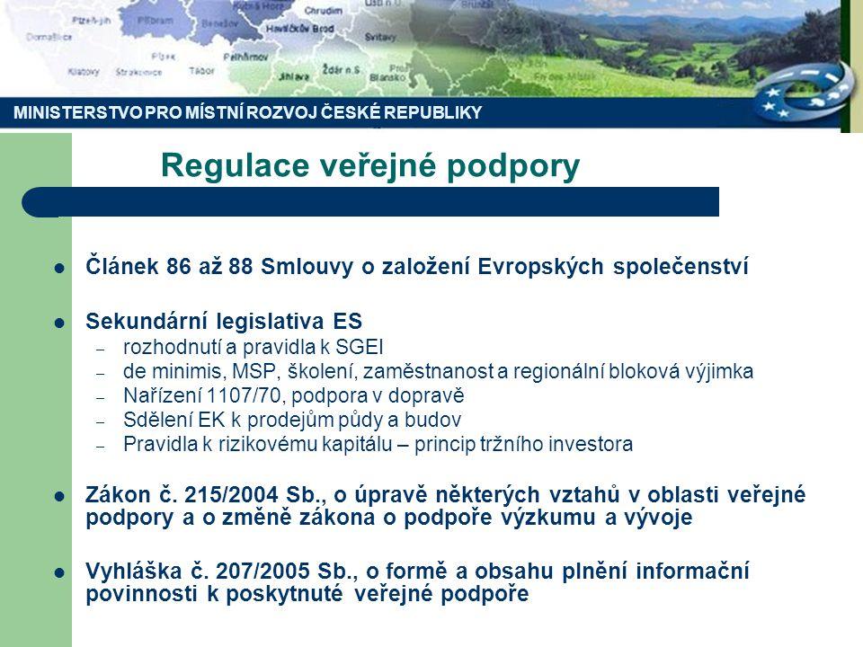 Regulace veřejné podpory Článek 86 až 88 Smlouvy o založení Evropských společenství Sekundární legislativa ES – rozhodnutí a pravidla k SGEI – de minimis, MSP, školení, zaměstnanost a regionální bloková výjimka – Nařízení 1107/70, podpora v dopravě – Sdělení EK k prodejům půdy a budov – Pravidla k rizikovému kapitálu – princip tržního investora Zákon č.
