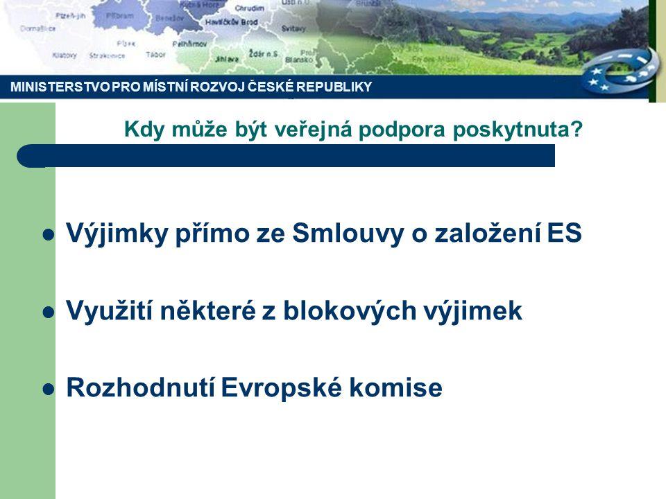 MINISTERSTVO PRO MÍSTNÍ ROZVOJ ČESKÉ REPUBLIKY Kdy může být veřejná podpora poskytnuta? Výjimky přímo ze Smlouvy o založení ES Využití některé z bloko
