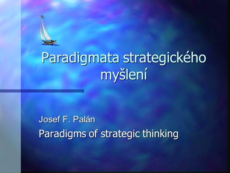 Informovat o dvou základních paradigmatech strategického myšlení určujících dynamiku rozvoje podnikatelských subjektů.