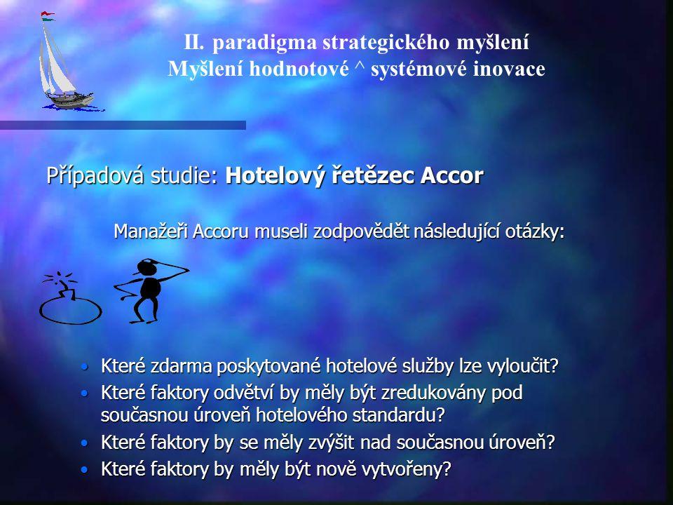 Případová studie: Hotelový řetězec Accor Manažeři Accoru museli zodpovědět následující otázky: Které zdarma poskytované hotelové služby lze vyloučit?K