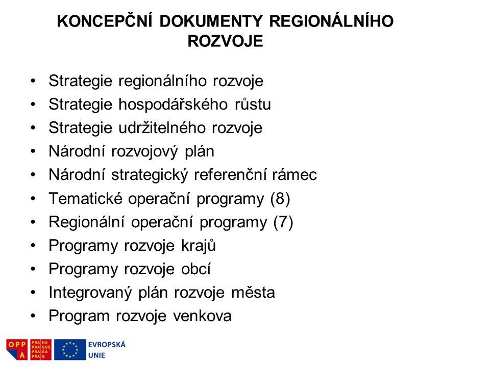 KONCEPČNÍ DOKUMENTY REGIONÁLNÍHO ROZVOJE Strategie regionálního rozvoje Strategie hospodářského růstu Strategie udržitelného rozvoje Národní rozvojový plán Národní strategický referenční rámec Tematické operační programy (8) Regionální operační programy (7) Programy rozvoje krajů Programy rozvoje obcí Integrovaný plán rozvoje města Program rozvoje venkova