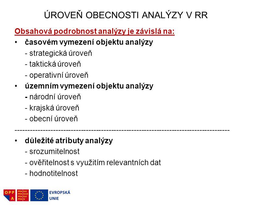 ÚROVEŇ OBECNOSTI ANALÝZY V RR Obsahová podrobnost analýzy je závislá na: časovém vymezení objektu analýzy - strategická úroveň - taktická úroveň - operativní úroveň územním vymezení objektu analýzy - národní úroveň - krajská úroveň - obecní úroveň ------------------------------------------------------------------------------------- důležité atributy analýzy - srozumitelnost - ověřitelnost s využitím relevantních dat - hodnotitelnost