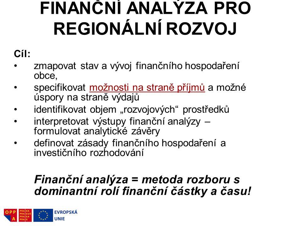 """FINANČNÍ ANALÝZA PRO REGIONÁLNÍ ROZVOJ Cíl: zmapovat stav a vývoj finančního hospodaření obce, specifikovat možnosti na straně příjmů a možné úspory na straně výdajů identifikovat objem """"rozvojových prostředků interpretovat výstupy finanční analýzy – formulovat analytické závěry definovat zásady finančního hospodaření a investičního rozhodování Finanční analýza = metoda rozboru s dominantní rolí finanční částky a času!"""