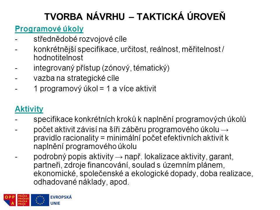 TVORBA NÁVRHU – TAKTICKÁ ÚROVEŇ Programové úkoly -střednědobé rozvojové cíle -konkrétnější specifikace, určitost, reálnost, měřitelnost / hodnotitelno